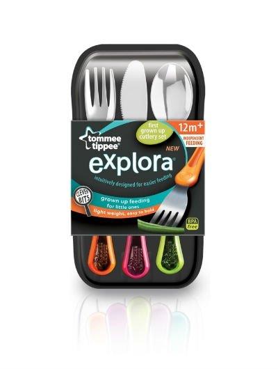 """אקספלורה סכו""""ם מתכת Tommee Tippee Cutlery Set"""