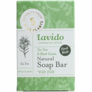 סבון מוצק טבעי בניחוח עץ התה וקצח - עבודת יד לבידו