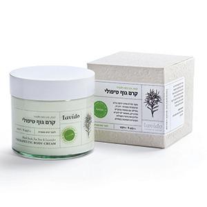 קרם גוף טיפולי קצח עץ התה ולבנדר Lavido
