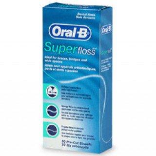 SUPER FLOSS ORAL B סופר-פלוס חוט דנטלי לניקוי גשרים, כתרים ומרווחים בין השיניים