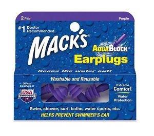 מאק אטמי אוזניים סיליקון AQUABLOCK  Mack's Earplugs