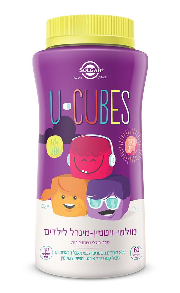 מולטי ויטמין מינרל לילדים סולגאר 60 סוכריות ג'לי U-Cubes Solgar