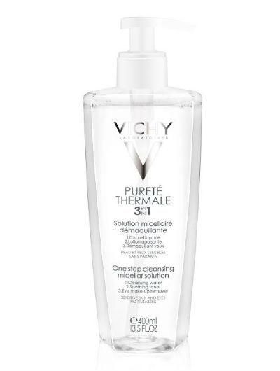 פיורטה טרמל וישי תמיסה מרגיעה לניקוי עור הפנים והעיניים Vichy Purete Thermal 3 In 1