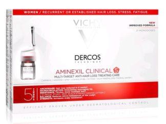 וישי דרקוס אמפולות לחיזוק סיב השערה לנשים Aminexil Clinical 5 Vichy Dercos